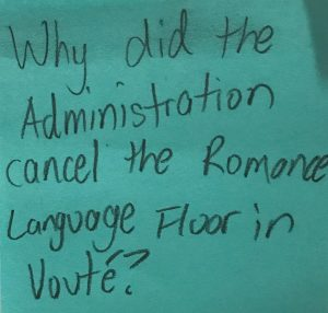 Why did the Administration cancel the Romance Language Floor in Vouté?