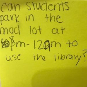 Can students park in the mod lot at 8 pm-12am to use the library?