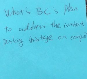 What's BC's Plan to address the constant parking shortage on campus?