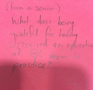 (from a senior) What does being grateful for having received an education at BC mean in practice?