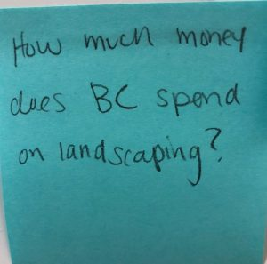 How much money does BC spend on landscaping?
