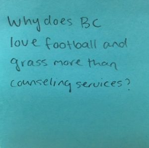 Why does BC love football and grass more than counseling services?
