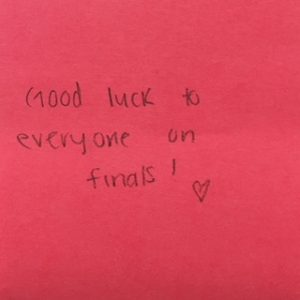 Good luck to everyone on finals! <3
