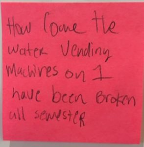 How come the water vending machines on 1 have been broken all semester?