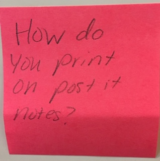 How do you print on post it notes?