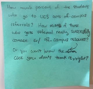 How much percent of the students who go to UCS gets off-campus referrals? How many of those who gets referral really successfully connect w/ off-campus resource? Or you won't know the data cuz you don't track it, right?