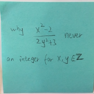 Why x^2-2/2y^2+3 never an integer for x,y,∈Z