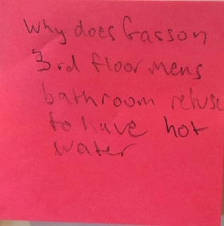 Why does Gasson 3rd floor mens bathroom refuse to have hot water?