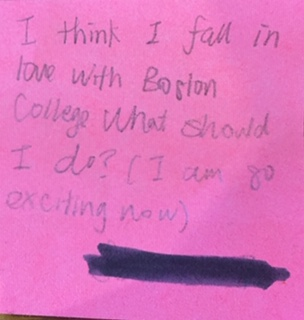 I think I fall in love with Boston College. What should I do? (I am so exciting now)