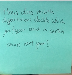 How does math department decide which professor teach a certain course next year?