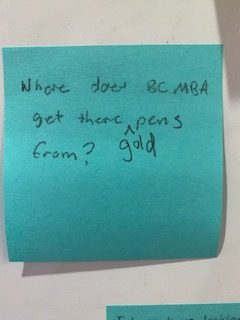 Where do BC MBA get their (gold) pens from?