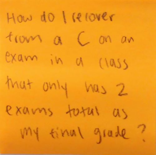 How do I recover from a C on an exam in a class that only has 2 exams total as my final grade?