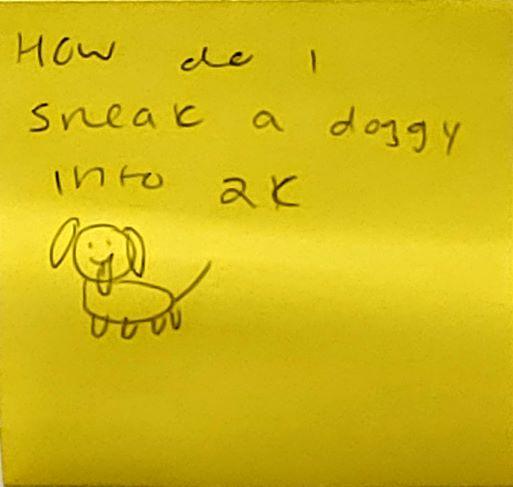 How do I sneak a doggy into 2k