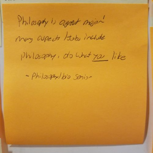 Philosophy is a great major! many aspects/jobs include philosophy, do what you like --Philosophy Senior