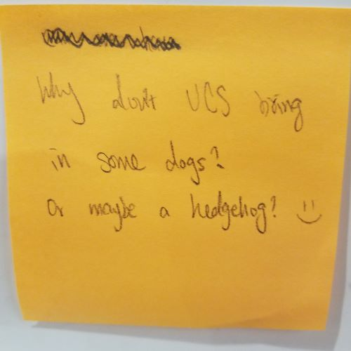 Why don't UCS bring in some dogs? or maybe a hedgehog? =)