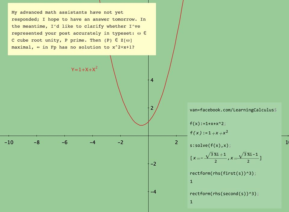 Proposed solution for the calculus problem, showing a graph of the equation y=1+x+x^2