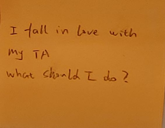I fall in love with my TA What should I do?