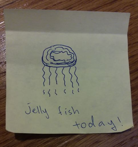 [drawing of a jellyfish] jelly fish today!