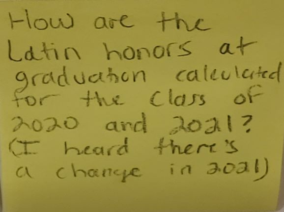 How are the Latin honors at graduation calculated for the Class of 2020 and 2021? (I heard there's a change in 2021)
