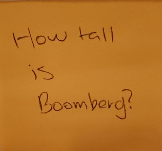 How tall is Boomberg?