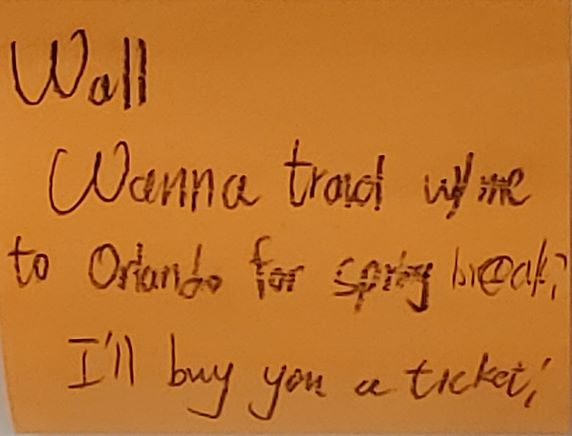 Wall Wanna travel with me to Orlando for spring break? I'll buy you a ticket!
