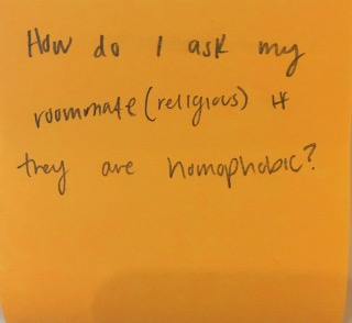 How do I ask my roommate (religious) if they are homophobic?