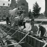 Workers building O'Neill Library