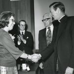 Father Monan with Dr. Mary J. Kinanne, April 23, 1976