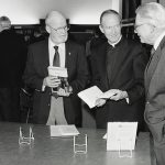 """Father Donan with colleagues at the """"Celebration of Scholarship"""" reception in 1991"""