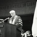 Tip O'Neill at the O'Neill Library dedication ceremony