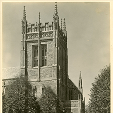 Sepia toned photograph of Burns library