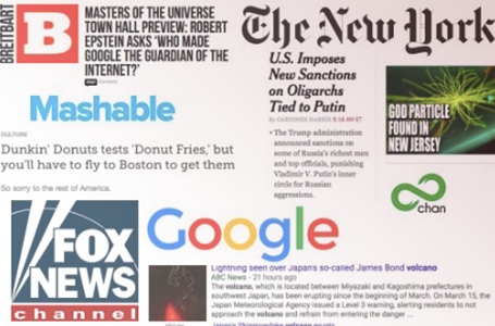 An assortment of news articles and logos