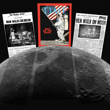 Newspapers from 1969 with captions regarding the moon landing.