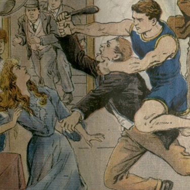 An illustration of a street fight from a Dime Store novel cover