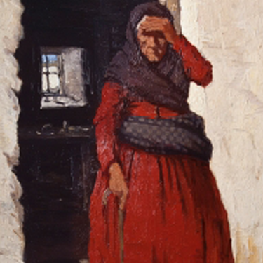 Painting of an old woman, holding her head