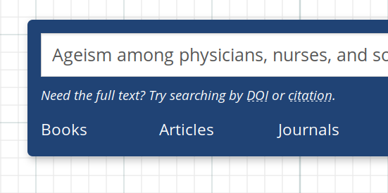 Screenshot of a citation input into the library search box
