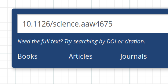 Screenshot of a DOI input into the library search box