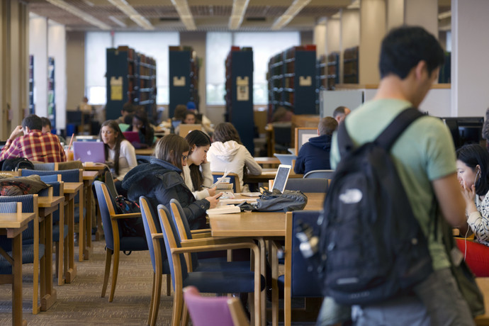 Students studying in the O'Neill Library