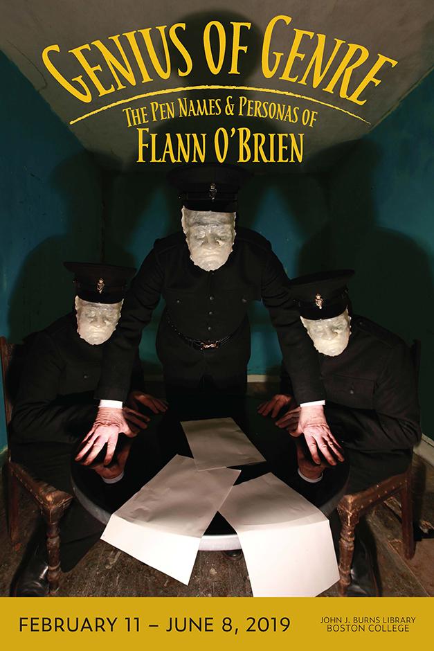 Flann O'Brien exhibit poster. Design by Kate Edrington, photo by David O'Kane.