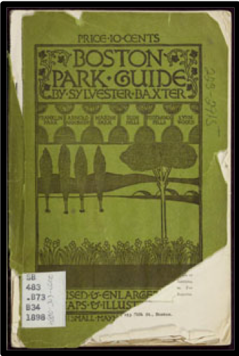 Image of the cover of Boston Park Guide: including the municipal and metropolitan systems of Greater Boston from the Burns Library, now available at the Internet Archive.