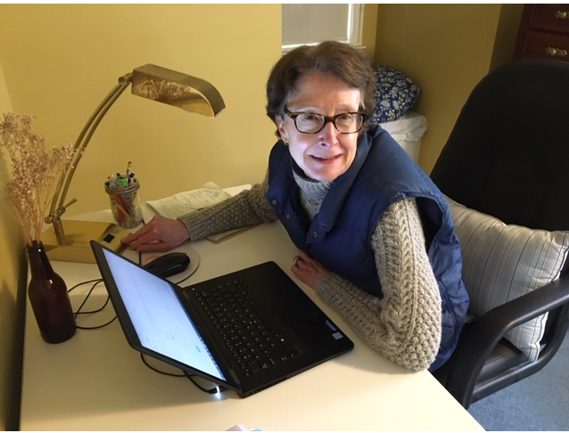 Sally Wyman, Head, Collection Development & Research Services, overseeing a major temporary shift to connecting patrons with online materials from her home office.