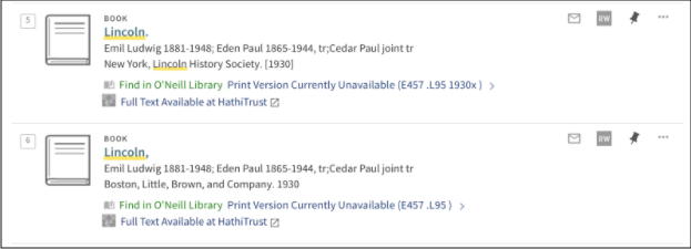 "Library search results displaying ""Full Text Available at Hathitrust links."