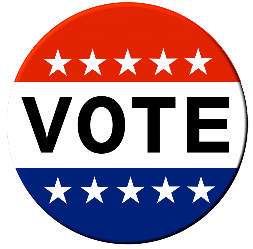 """Red white and blue button with white stars, and """"VOTE"""""""