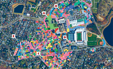 Satellite view of Boston College Chestnut Hill campus in 2010, with many colorful circles denoting species of trees.