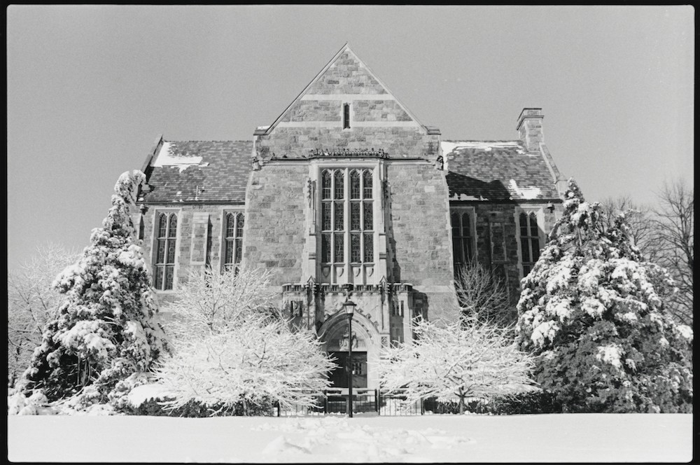 Exterior of Bapst Library in Winter, probably between 1980 and 1995, BC Office of Marketing Communications, in BC Archives.