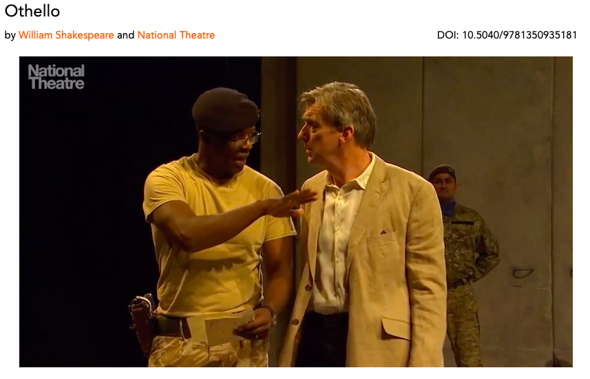 Still image from Drama Online streaming image of a National Theatre staging of Othello, showing the characters Othello and Iago, both in contemporary dress.