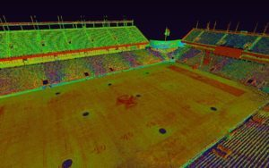 Multicolored LiDar image of Alumni Stadium field, with different shades representing elevation, showing minor dips and rises in shades of red and green in the otherwise flat field.