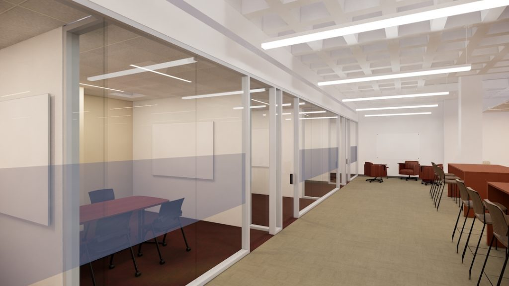 3 glass-fronted study rooms with wheeled chairs and tables abut an open study area with tall cafe seating.