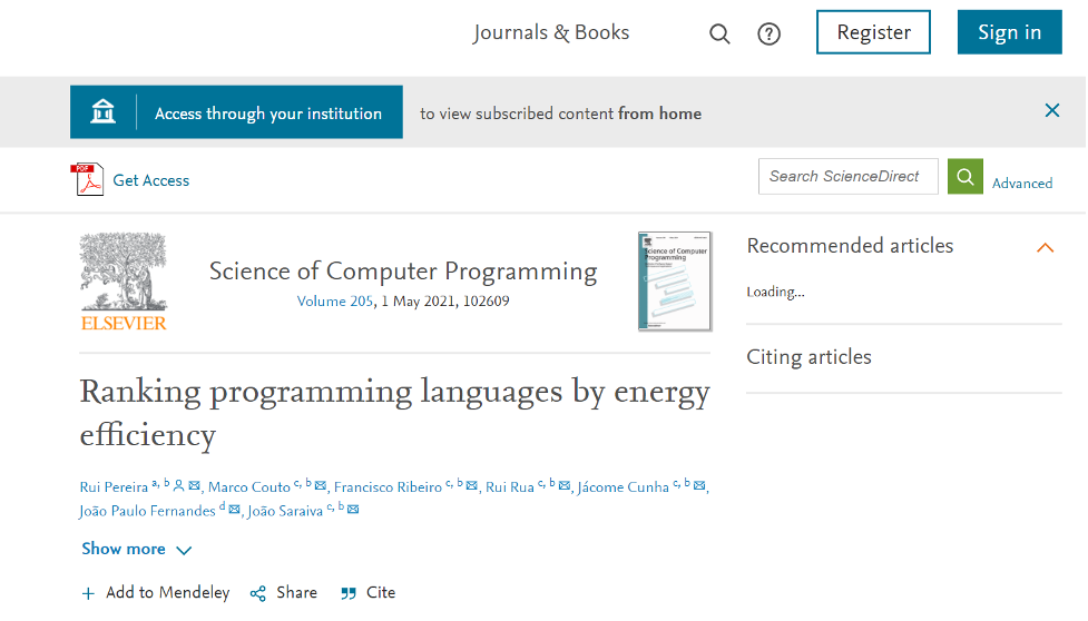 """A sample article record in an Elsievier-published journal shows an """"Acces through your institution"""" button in the upper left."""
