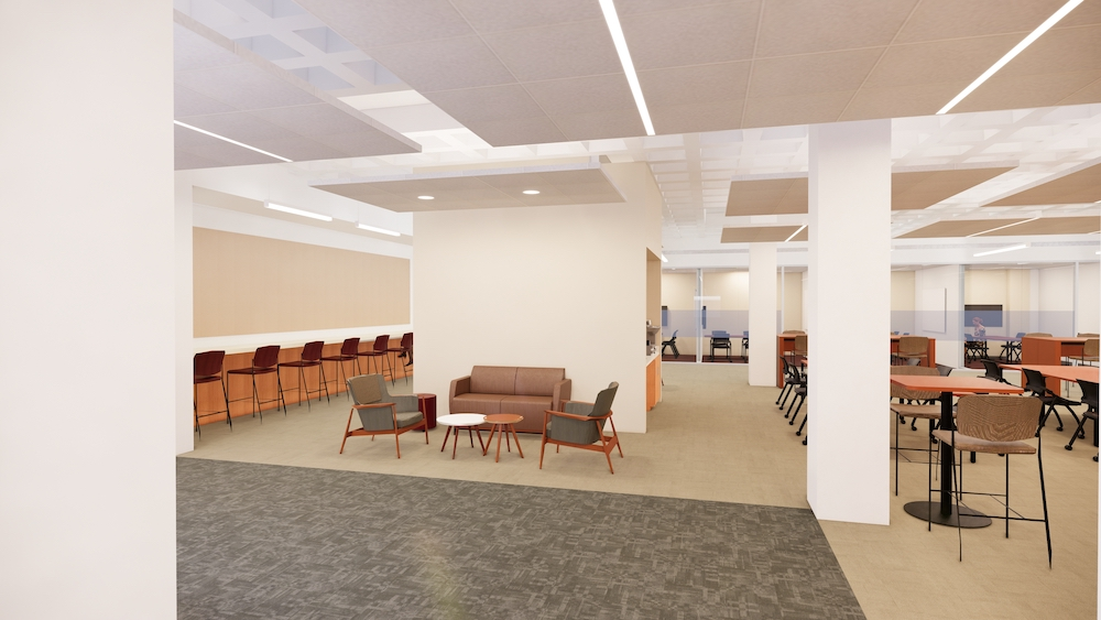 Computer rendering of student study space. There are low cushioned chairs, tall chairs at a bar, tall chairs at two-person tables, and lower wheeled chairs at conference tables. In the background are glass-walled study group study rooms.